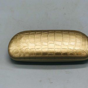 "Dana Buchman glasses case gold hard 6.5x2.5"" repti"